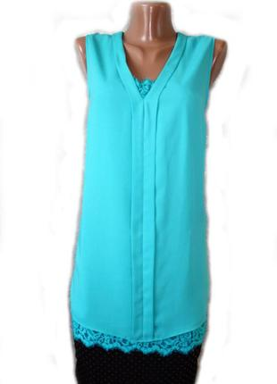 Блуза топ / рубашка шифон с ажурным кантом без рук / шри-ланка...