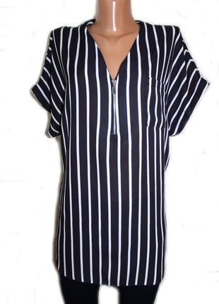 Блуза рубашка в вертикальную полоску с молнией / select, 14