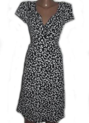 Милое платье в мелкий черно-белый принт с воланами / румыния, 14