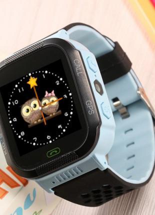 Детские часы Smart Watch Q528 GPS с фонариком Голубой/Черный