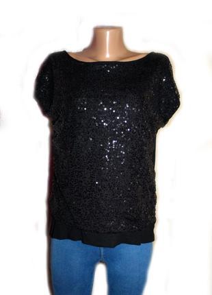 Блуза футболка топ праздничная или вечерняя перед в паетках, с...