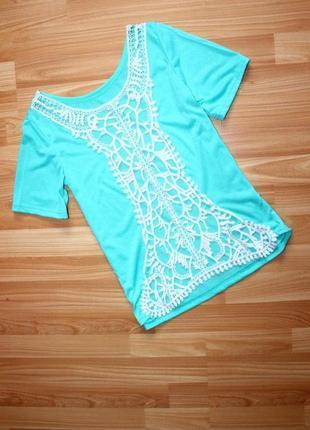Блуза / кофточка / футболка морской волны с широкой вставкой а...