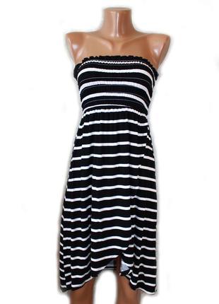 Платье сарафан бюстье или юбка в актуальную черно-белую полоск...
