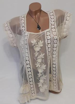 Блуза рубашка накидка сетка с вышивкой цвета кофе с молоком