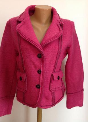 Теплый пиджак / жакет /курточка валяная шерсть темно-розовый, ...