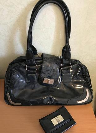 2 в 1: сумка женская мраморная и кошелек / на магнитах
