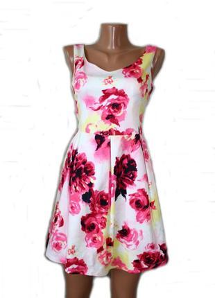 Платье сарафан  / юбка клеш / белое в красивый принт роз, peti...
