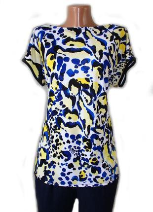 Блуза футболка майка в чудной желто-голубой принт, иордания, l...