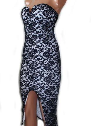Платье бюстье с глубоким разрезом спереди гипюровое