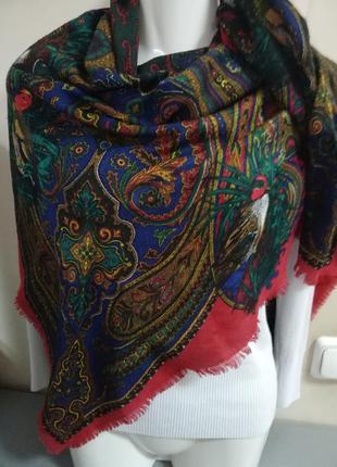 Шерстяной винтажный платок рисунок птицы и цветы