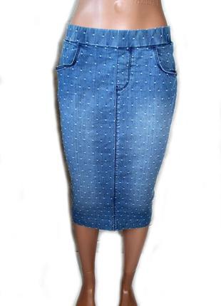 Юбка карандаш джинс в мелкую вышитую точечку/очень необычная, ...