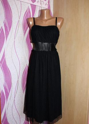 Платье бюстье сарафан черное / как вечернее /  сеточка в точеч...