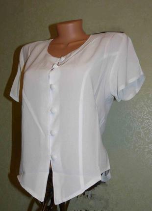 Блуза летняя легкая белая  с завязками / классика, 48