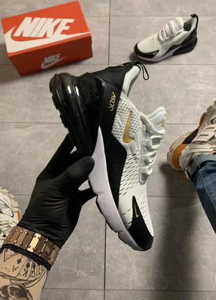 Мужские черно-белые кроссовки nike air max 270 black gold.