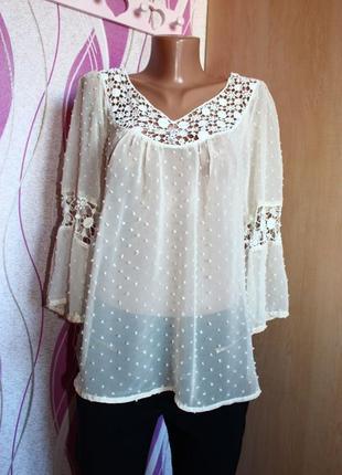 Блуза рубашка айвори полупрозрачная с ажуром и нашивками точек...