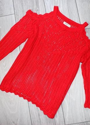 Кофта / блуза / свитшот красный / ажурная обьемная машинная вя...