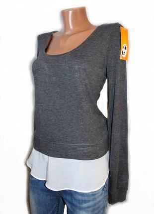 Свитшот свитер кофта джемпер с шифоновой оборкой / 46-48 р.