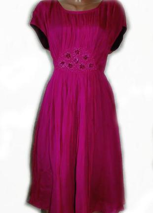 Платье вечернее нарядное шифон жатка фуксия с бисером и страза...