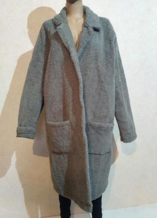 Плюшевое пальто кардиган демисезонный  большого размера