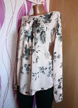 Блуза / кофточка / рубашка нюд розовая в принт серых роз, итал...