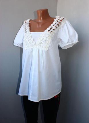 Блуза рубашка белая 100% коттон, с нашивками ажура / по типу б...