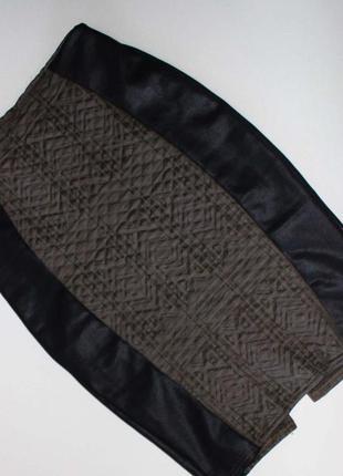 Юбка карандаш текстурная ткань+вставки под кожу uk