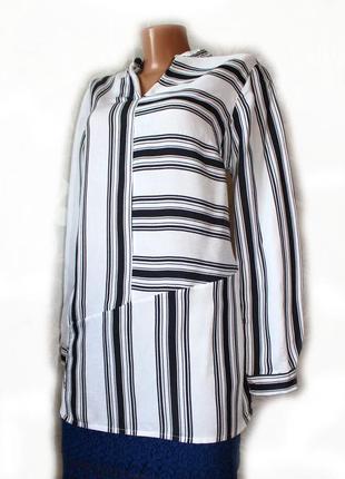 Блуза рубашка белый текстурный шифон в стильную полоску комби ...