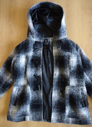Пальто полупальто капюшонка в  клетку/ теплое / легкое с капюш...