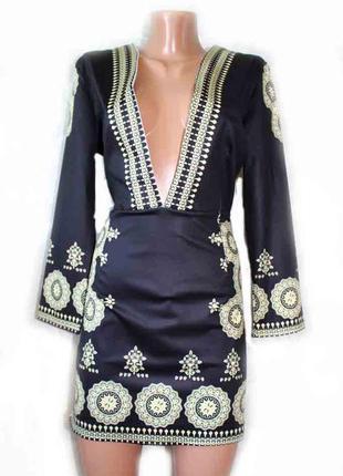 Платье туника неопрен в оригинальный азиатский принт / xl