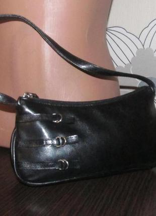 Сумочка сумка клатч черная с хлястиками