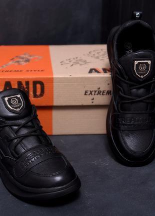 Мужские кожаные кроссовки Philipp Plein Leather Black