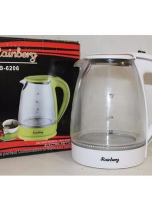 Электрочайник,чайник стекло Rainberg Германия 2200 Вт