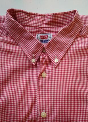 Винтажная мужская рубашка levis xl красная в клетку