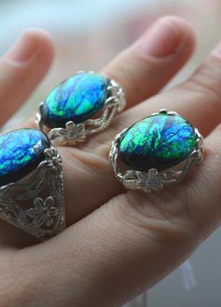 Серебряный набор кольцо и серьги с опалом