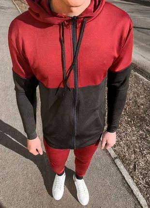Мужской спортивный костюм (красно-черный)