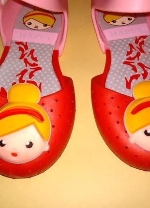 Сандалии босоножки happy стиль мини-мелисса  пвх красно-розовые