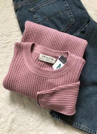 Хлопковый свитер/джемпер/лонгслив в пудровом цвете