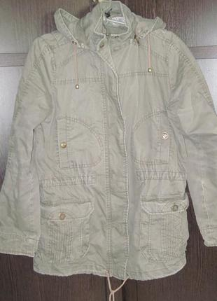Куртка mango демисезонная длинная с капюшоном размер eur м