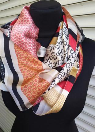 Большой шелковый платок косынка принт 3 в 1 красный розовый гр...