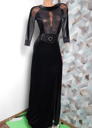 Платье в пол кружево, велюр, камни