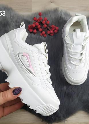 Детские кроссовки белые для девочки в стиле fila disruptor