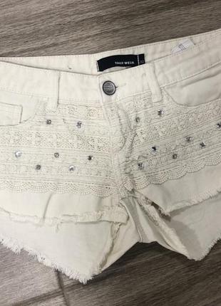Шортики шорты джинсовые ажурные с кружевом розвантажуюсь