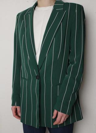 H&m двубортный удлиненный пиджак в полоску жакет oversize