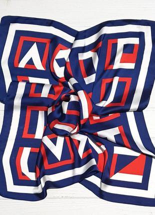 Легкий шелковый платок красный синий в наличии