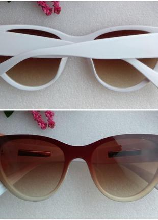 Новые крутые брендовые очки, коричневые, в белой оправе