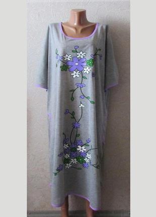 Размер 58-60 домашнее платье или ночнушка нино, коттон, большо...