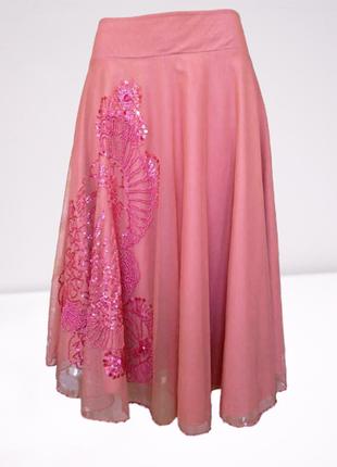 Шикарная коралловая юбка с огромной вышивкой бисером,  индия.