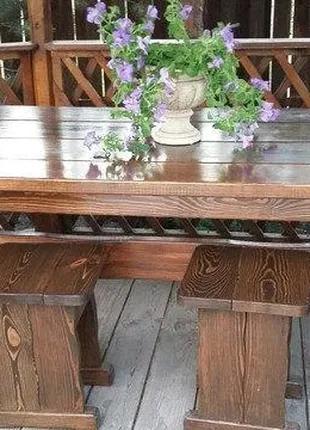 Садовая мебель из массива дерева 1800х800x770 + 4 банкетки