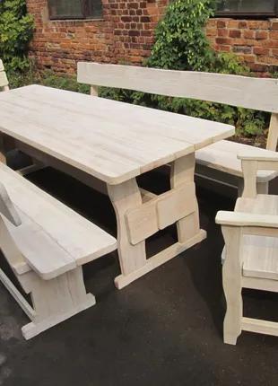 Белая садовая мебель из массива дерева 2000х800 от производителя