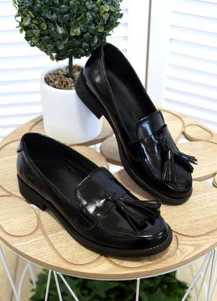 36-41. базовые лаковые кожаные туфли лоферы балетки с кисточка...